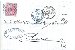 126651 ITALY FLORENCE YEAR 1869 PAPEL CARTA CIRCULATED TO FRANCE NO POSTAL POSTCARD - Italien