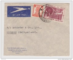 INDE INDIA LETTRE BY AIR MAIL JANVIER 1950 → LUCERNE SWITZERLAND - INDUSTRIAL A SUPPLY BUREAU DELHI NEW CHANDRAWAL - Cartas