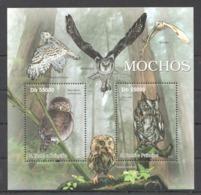 BC908 2011 S.TOME E PRINCIPE FAUNA BIRDS OWLS MOCHOS 1BL MNH - Hiboux & Chouettes