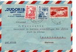 YOUGOSLAVIE AFFRANCHISSEMENT COMPOSE SUR LETTRE POUR LA FRANCE 1954 - 1945-1992 Socialist Federal Republic Of Yugoslavia