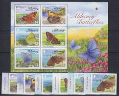 Alderney 2008 Butterflies 6v (+margin) + M/s ** Mnh (45504) - Alderney