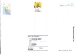 2018-SOBRE  PREFRANQUEADO DEL SERVICIO FILATÉLICO-TURISMO. PLAYA-23x16 Mm-USADO-ERROR IMPRESIÓN AL REVERSO-VER FOTOS - 1931-....