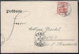 Allemagne - 1909 - Timbre 10 Pf Perforé D & V G (à L'envers) David & Von Geldern, Sur Carte Postale De Coln Pour Paris - - Germany