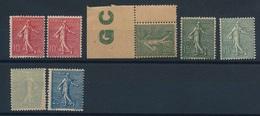 """DG-113: FRANCE""""  Lot  """"Semeuses Lignées"""" ** 129(2)-130(3)-130h-132(décentré) - 1903-60 Semeuse Lignée"""