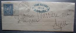 Marmande 1879 Edmé Dalliez Avoué (Lot-et-Garonne) Lettre Pour Agen - Storia Postale