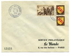 N 737 Et 757 En Paire Sur Enveloppe Conseil De L'europe Strasbourg - Postmark Collection (Covers)