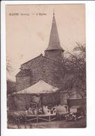 CPA  -  RAZES (87) - Manège Ancien Devant L'Eglise - Voiture Ancienne - Boeufs Attellés à Une Charrette - France