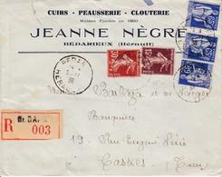 Env Reco Affr Y&T 189 + 191 + 365 X 3 Obl BEDARIEUX Du 9.11.38 Adressée à Castres - Marcophilie (Lettres)