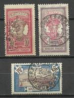 MARTINIQUE 1908/1917 Michel 60 - 61 & 63 O - Oblitérés