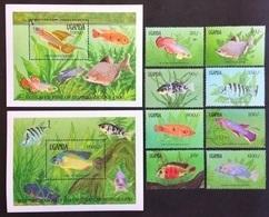 # Uganda 1991**Mi.873-82  Local Fish , MNH  [20;24] - Vissen