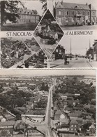 2 CPSM:SAINT NICOLAS D'ALIERMONT (76) CINQ VUES,ROUTE DE DIEPPE..ÉCRITES - Other Municipalities