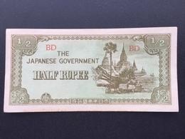 BURMA P13B 1/2 KYAT 1942.44 UNC - Myanmar