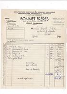 Facture 1950 Passementerie Crochet Mécanique Bonnet Frères, Cébazat, Puy-de-Dôme - Textile & Vestimentaire