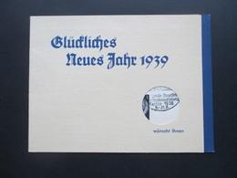 3. Reich 1938 Klappkarte Vom Rundfunkhaus Zentrum Berlin Glückliches Neues Jahr +Marke Mit SST Rundfunkausstellung - Briefe U. Dokumente