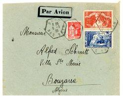 SURTAXE SUR LETTRE 307 ET 308 BAS RHIN ENV 1936 BUST AGENCE POSTALE (517 HABITANTS EN 1936) => BOUZARIA ALGERIE . SCANS - Storia Postale