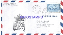 126665 CANADA COVER YEAR 1946 AVIATION LONDON TO CHICAGO CIRCULATED TO US  NO POSTAL POSTCARD - Canadá
