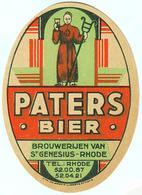 ANCIENNE ETIQUETTE BIERE PATERS BIER / BRASSERIE RODEA / SINT - GENESIUS - RHODE - Bière