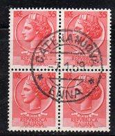 Q81 - REPUBBLICA 1955 , Turrita Stelle 35 Lira In Quartina Usata - 6. 1946-.. Repubblica