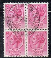 Q82 - REPUBBLICA 1955 , Turrita Stelle 13 Lira In Quartina Usata - 6. 1946-.. Repubblica