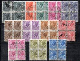 Q87 - REPUBBLICA 1955, Turrita Stelle 13 Valori Diversi In Quartina Usata - 6. 1946-.. Repubblica