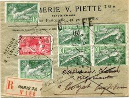 FRANCE THEME JEUX OLYMPIQUES LETTRE RECOMMANDEE DEPART PARIS 1-4-24 (1er JOUR D'EMISSION DES TIMBRES) POUR LA FRANCE - Ete 1924: Paris