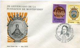 URUGUAY. SOBRE PRIMER DIA. 1970. FDC. 250 ANIVERSARIO DE LA FUNDACION DE MONTENIDEO. ANNIVERSARIO. ANNIVERSARY.- NTVG. - Uruguay