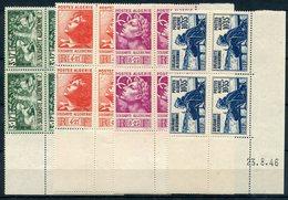 RC 14981 ALGERIE N°249 / 52 SERIE OEUVRES DE SOLIDARITÉ BLOC DE 4 COIN DATÉ COTE 67€ NEUFS ** MNH TB - Unused Stamps