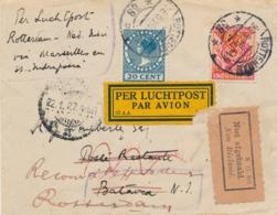 Nederland / Indië - 1926 - LP-Cover Van Rotterdam Naar Marseille En Met MS Indrapoera Verder Naar Batavia - Airmail