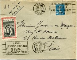 FRANCE THEME JEUX OLYMPIQUES LETTRE DEPART PARIS 17 V 1924  AVEC FLAMME JEUX OLYMPIQUES PARIS...+ VIGNETTE PARIS 1924... - Estate 1924: Paris