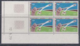 Afars Et Issas N° 361 XX    Tir Aux Pigeons En Bloc De 4 Coin Daté Du 12 . 5 . 70, Sans Charnière, TB - Afars Et Issas (1967-1977)
