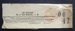 """1873 Bande Journal """"le Figaro"""", Cachet Rouge Journaux Paris, Pour La Cour D'appel Palais De Justice Bordeaux Gironde - Marcofilie (Brieven)"""