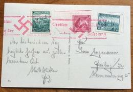 GROTTAU PANORAMA 1935  CARTOLINA CON ANNULLO ROSSO CON SVASTICA - Stamps