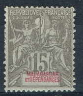 """Madagascar (French Colony), 15c., Type """"Groupe"""", Grey, 1900, MH VF - Unused Stamps"""