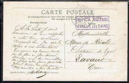 """Fr - Hopital Militaire D'Amélie Les Bains - Cor. Pour Lavaur Sur CPA """"Amélie -Vue Générale Et Fort"""" Cachet Lavaur 8-9-14 - WW I"""