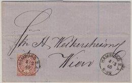 NDP/Österreich - 1 Gr. Dst., Brief K1 Hamburg IIA - Wien 1868 - Ohne Inhalt - Norddeutscher Postbezirk (Confederazione Germ. Del Nord)