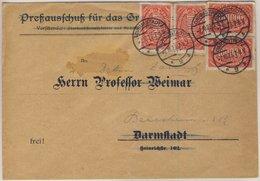 DR-Infla - 4x100.000 M. Queroval, Drucksachenbrief Darmstadt 2 - Bensheim - Deutschland