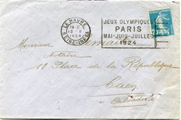 FRANCE THEME JEUX OLYMPIQUES LETTRE DEPART LE HAVRE 13 V 1924  AVEC FLAMME JEUX OLYMPIQUES PARIS MAI-JUIN-JUILLET 1924 - Estate 1924: Paris