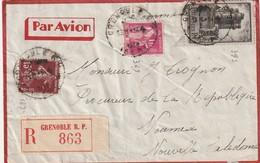 France 393 A Destination De Noumea Decembre 1938 Lettre Recommabndée - Francia