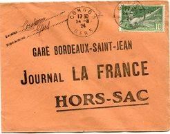 FRANCE THEME JEUX OLYMPIQUES LETTRE DEPART CONDOM 24-8-24 GERS POUR LA FRANCE - Estate 1924: Paris