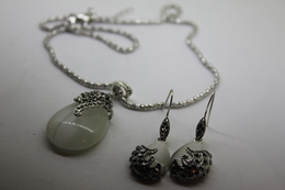 A60125 - Orecchini E Collana  In Argento Sterling 925 Con Opale A Goccia - Earrings