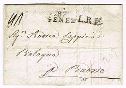 Marque 87 GÊNES Sur Lettre 1809 Du Département Français De GÊNES - Marcophilie (Lettres)