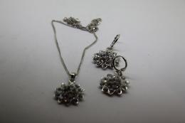 A60126 - Orecchini E Collana  In Argento Sterling 925 Fiori Incastonati Con Pietre Bianche - Earrings