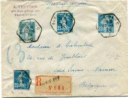 FRANCE THEME JEUX OLYMPIQUES LETTRE RECOMMANDEE AVEC AFFR. COMPLEMENTAIRE AU DOS DEPART PARIS 12-4-24 POUR LA BELGIQUE - Estate 1924: Paris
