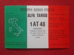 TARJETA TIPO POSTAL TYPE POST CARD QSL RADIOAFICIONADOS RADIO AMATEUR ALFA TANGO ITALIA ITALY TARANTO...VER FOTOS Y DESC - Tarjetas QSL