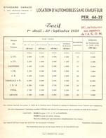 Tarifs De Location D'automobiles Sans Chauffeur, 1958, Standard Garage De Levallois, 2 Cv, Traction, ID 19, Ariane - Automobil
