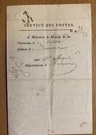 60127 - Service Des Postes Rodez II à Monsieur Le Maire De Gissac 26.09.1822 Document Pour Recensement 1821 - Vieux Papiers