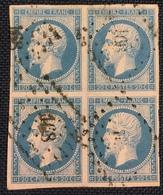 Timbre De France Classique N°14A Bloc De 4 Signé Calves - 1853-1860 Napoléon III