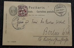 Schweiz 1898, Postkarte MiF, AROSA - BERLIN - 1882-1906 Coat Of Arms, Standing Helvetia & UPU