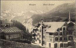 Cp Wengen Kt. Bern, Hotel Bristol, Außenansicht, Gebirgslandschaft, Kirche - BE Berne