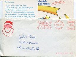 PERE NOËL. LIBOURNE.1987. Enveloppe + Carte - Marcophilie (Lettres)